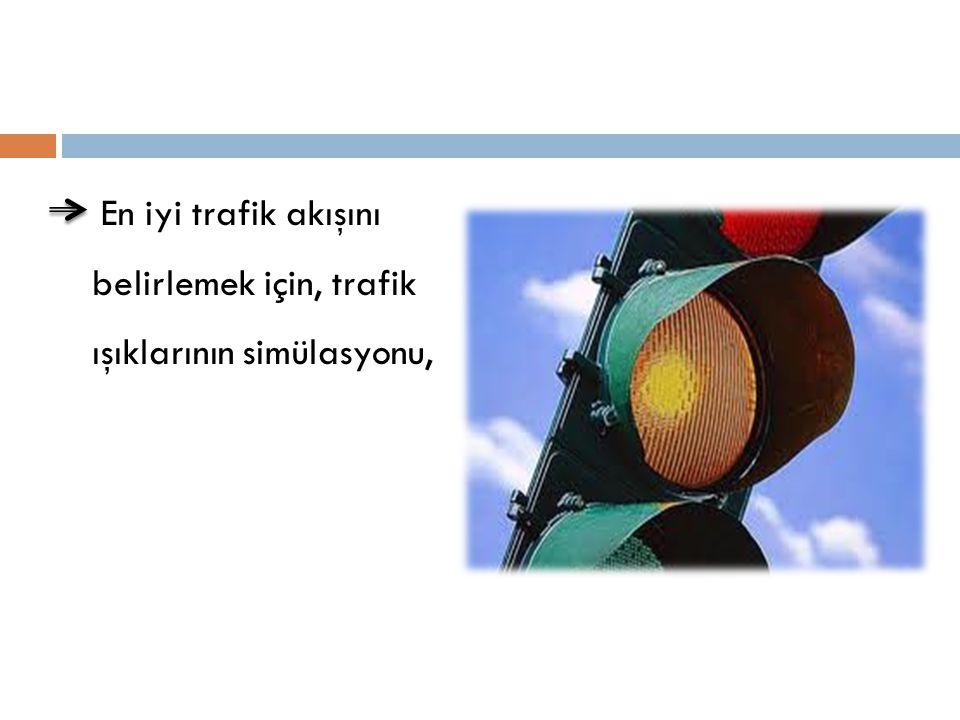 En iyi trafik akışını belirlemek için, trafik ışıklarının simülasyonu,