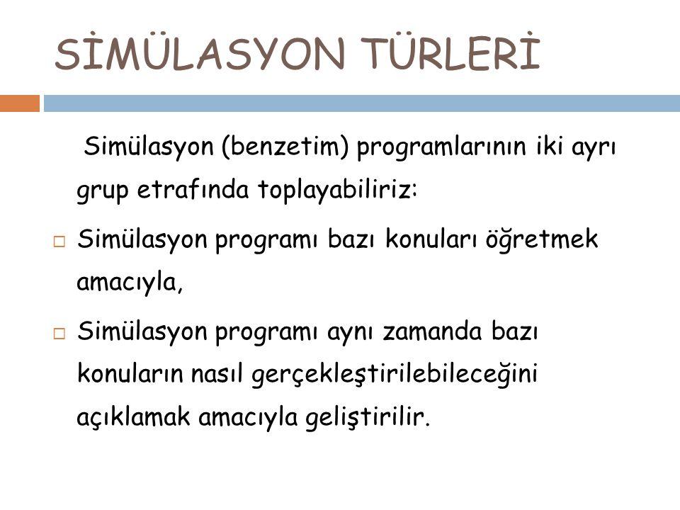 SİMÜLASYON TÜRLERİ Simülasyon (benzetim) programlarının iki ayrı grup etrafında toplayabiliriz: