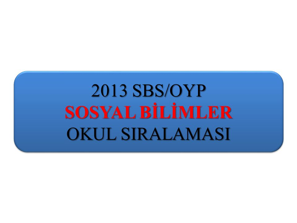 2013 SBS/OYP SOSYAL BİLİMLER OKUL SIRALAMASI