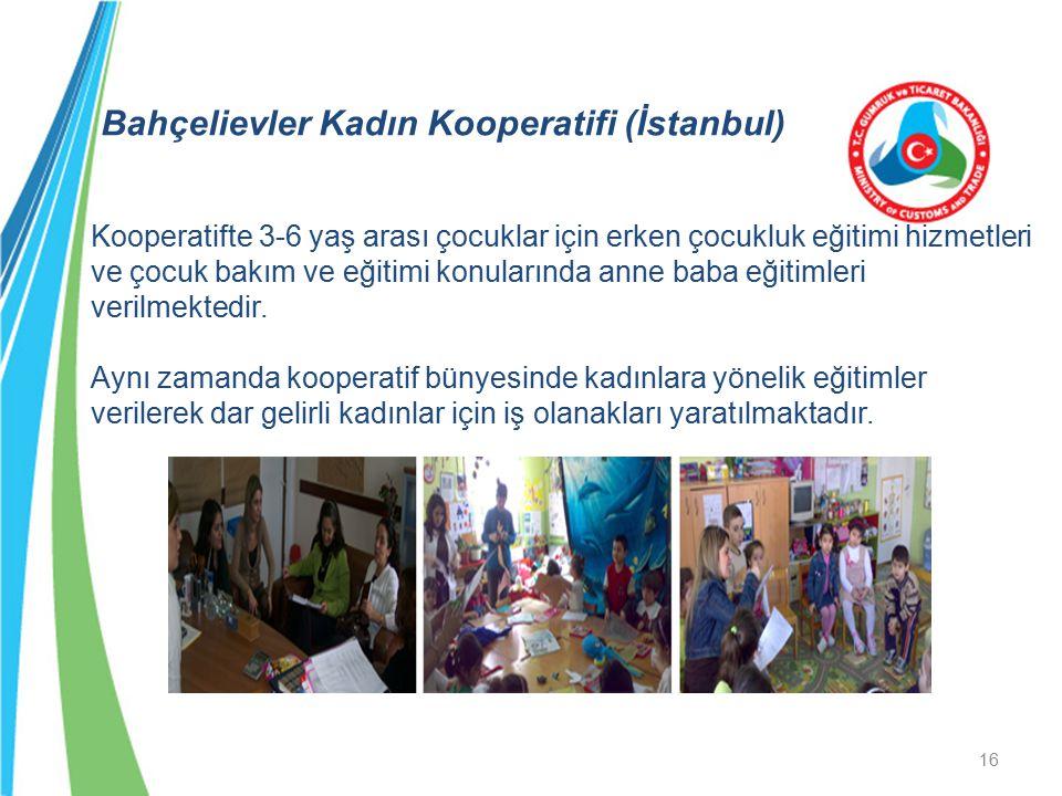 Bahçelievler Kadın Kooperatifi (İstanbul) Kooperatifte 3-6 yaş arası çocuklar için erken çocukluk eğitimi hizmetleri ve çocuk bakım ve eğitimi konularında anne baba eğitimleri verilmektedir.