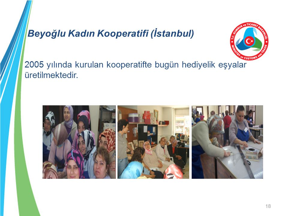 Beyoğlu Kadın Kooperatifi (İstanbul) 2005 yılında kurulan kooperatifte bugün hediyelik eşyalar üretilmektedir.