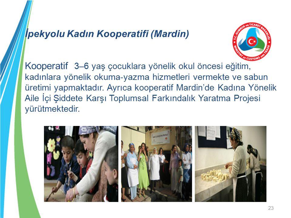 İpekyolu Kadın Kooperatifi (Mardin) Kooperatif 3–6 yaş çocuklara yönelik okul öncesi eğitim, kadınlara yönelik okuma-yazma hizmetleri vermekte ve sabun üretimi yapmaktadır.