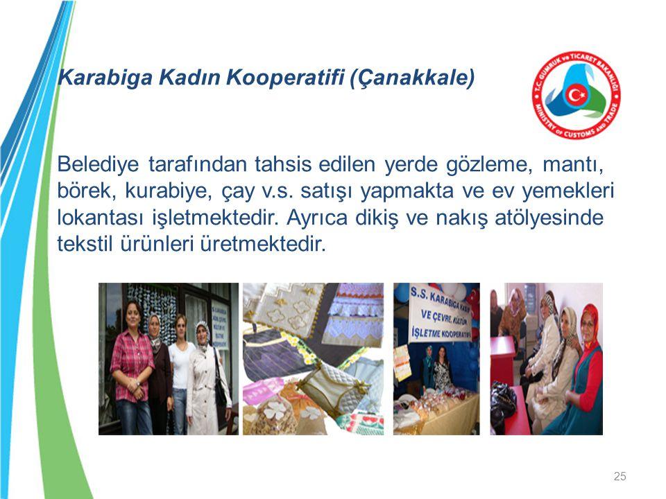 Karabiga Kadın Kooperatifi (Çanakkale) Belediye tarafından tahsis edilen yerde gözleme, mantı, börek, kurabiye, çay v.s.