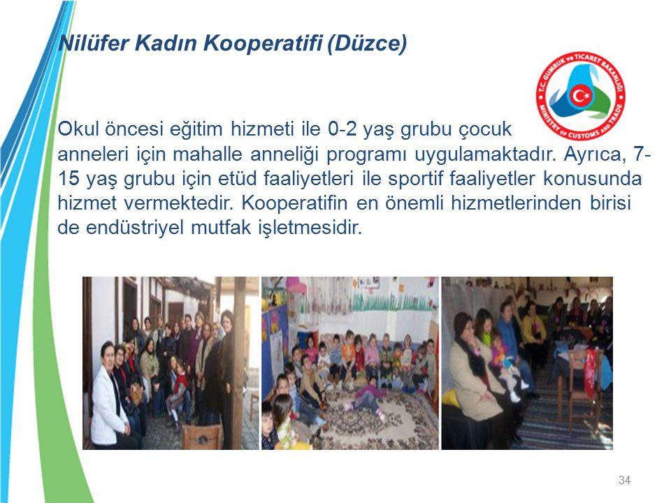 Nilüfer Kadın Kooperatifi (Düzce) Okul öncesi eğitim hizmeti ile 0-2 yaş grubu çocuk anneleri için mahalle anneliği programı uygulamaktadır.