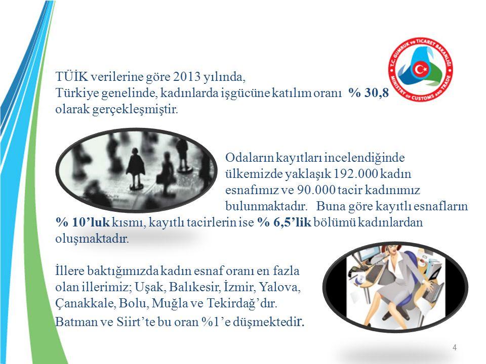 TÜİK verilerine göre 2013 yılında, Türkiye genelinde, kadınlarda işgücüne katılım oranı % 30,8 olarak gerçekleşmiştir.
