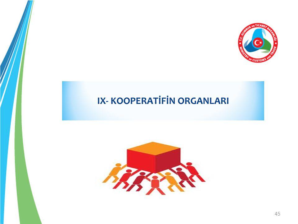 IX- KOOPERATİFİN ORGANLARI
