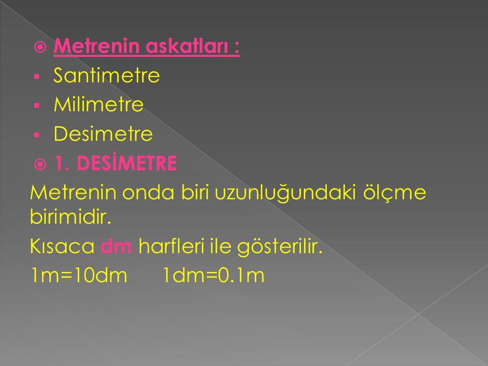 Metrenin askatları : Santimetre. Milimetre. Desimetre. 1. DESİMETRE. Metrenin onda biri uzunluğundaki ölçme birimidir.