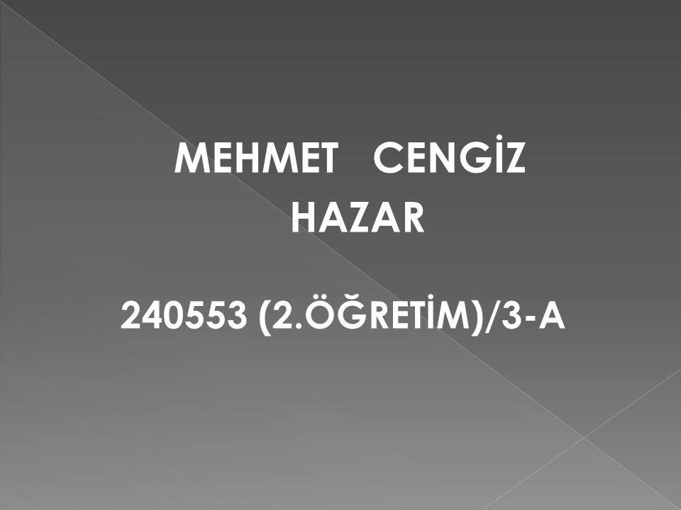 MEHMET CENGİZ HAZAR 240553 (2.ÖĞRETİM)/3-A