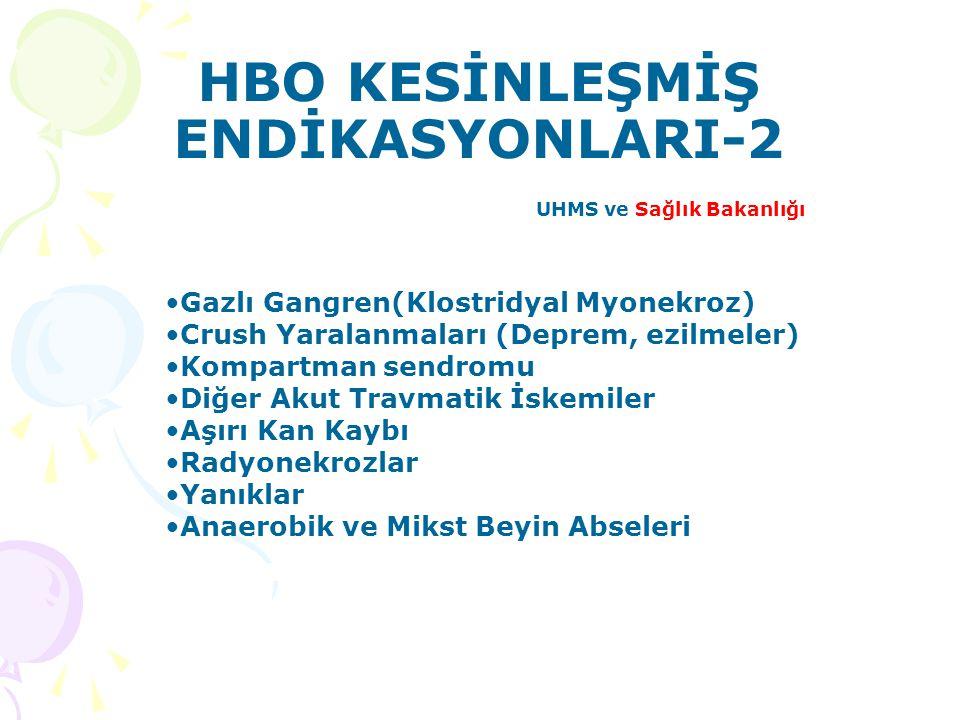 HBO KESİNLEŞMİŞ ENDİKASYONLARI-2 UHMS ve Sağlık Bakanlığı