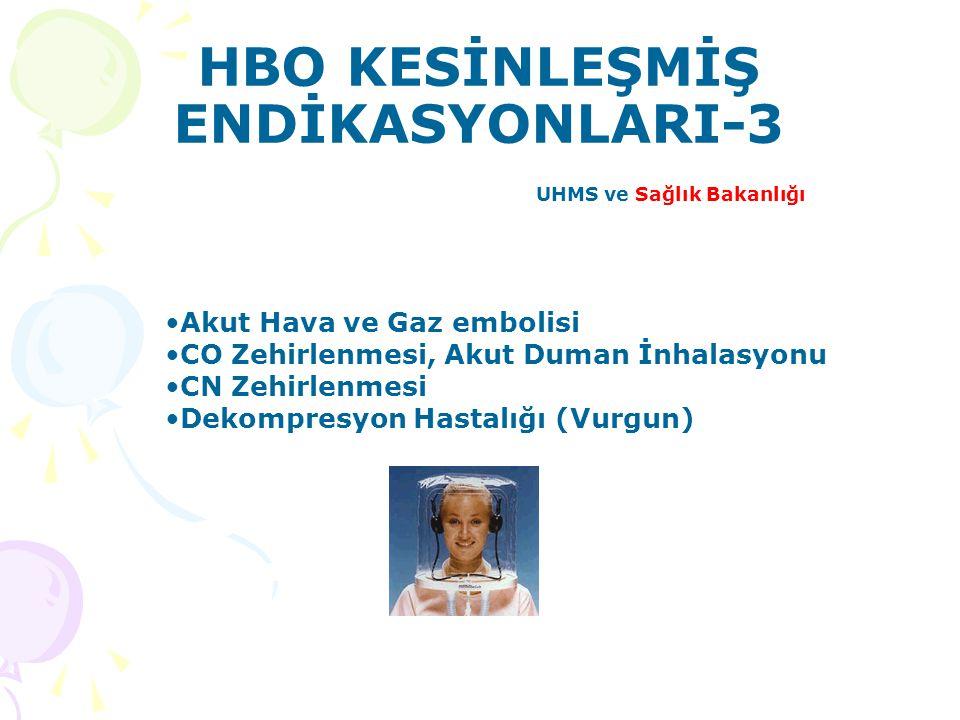 HBO KESİNLEŞMİŞ ENDİKASYONLARI-3 UHMS ve Sağlık Bakanlığı