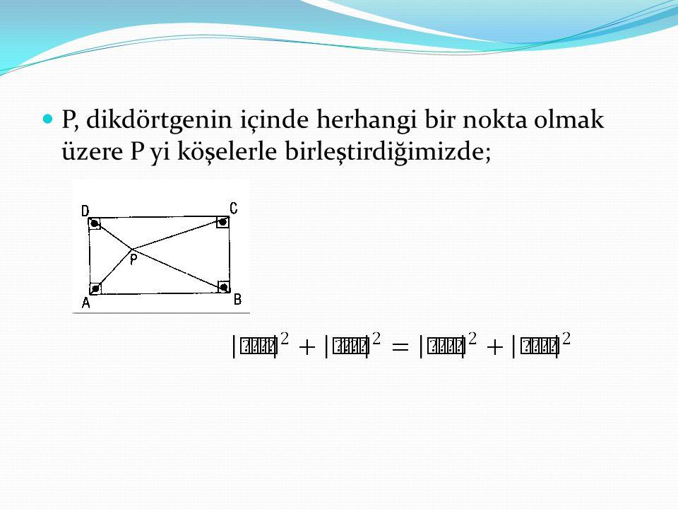 P, dikdörtgenin içinde herhangi bir nokta olmak üzere P yi köşelerle birleştirdiğimizde;