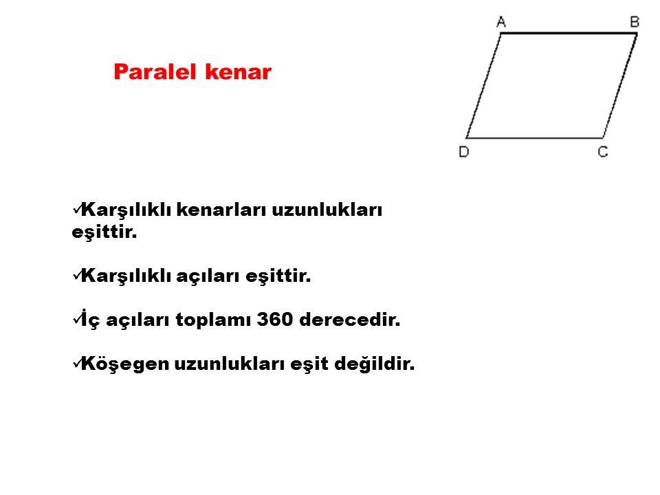 Paralel kenar Karşılıklı kenarları uzunlukları eşittir.