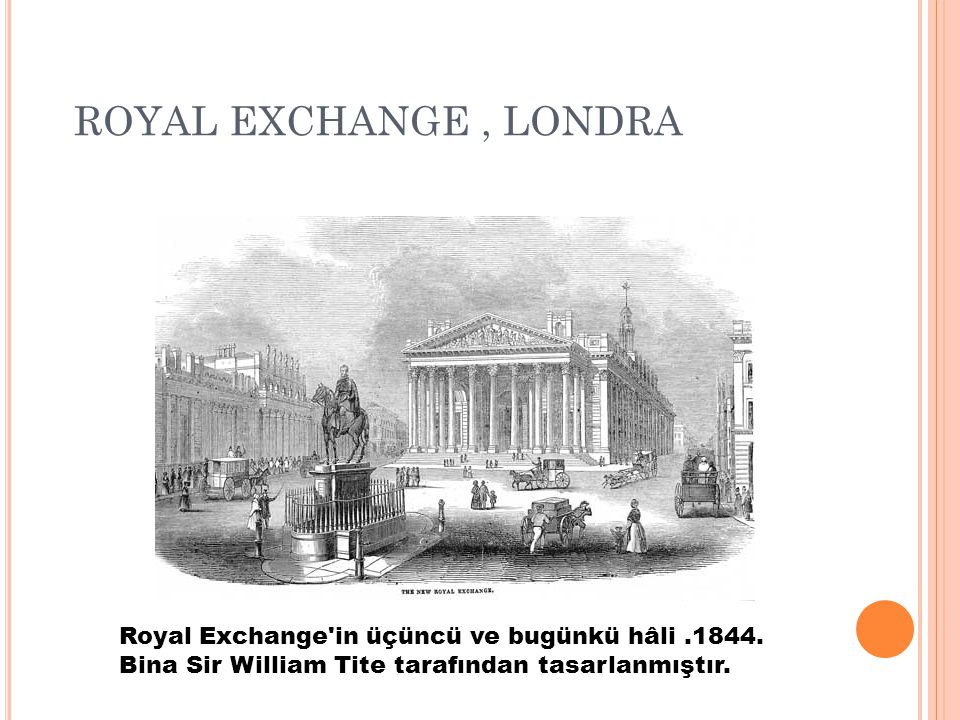 ROYAL EXCHANGE , LONDRA Royal Exchange in üçüncü ve bugünkü hâli .1844.