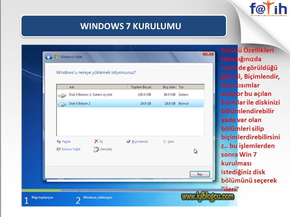 WINDOWS 7 KURULUMU