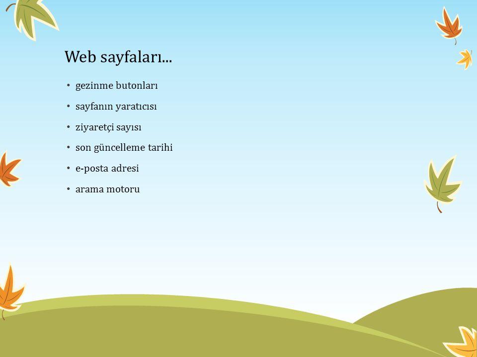 Web sayfaları... gezinme butonları sayfanın yaratıcısı