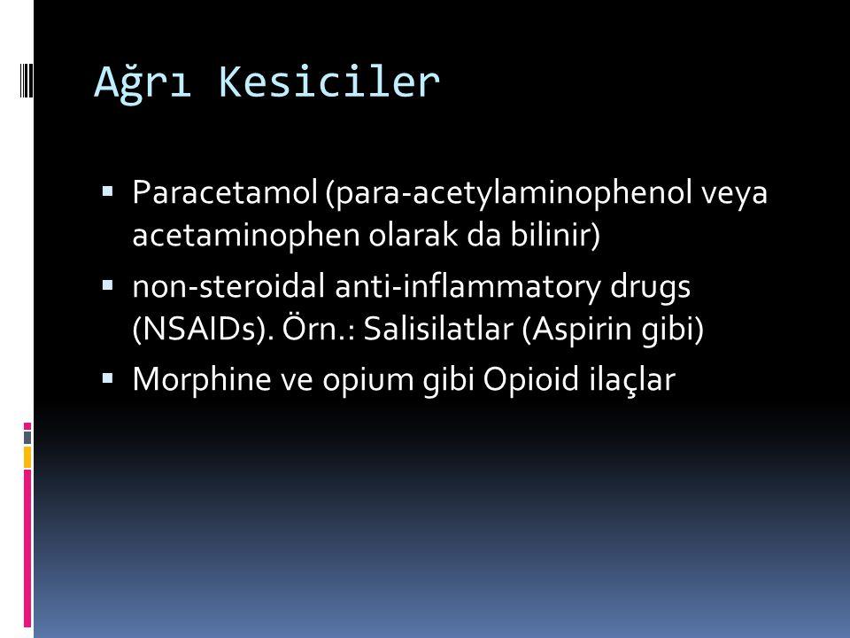 Ağrı Kesiciler Paracetamol (para-acetylaminophenol veya acetaminophen olarak da bilinir)