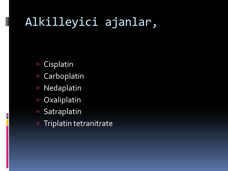 Alkilleyici ajanlar, Cisplatin Carboplatin Nedaplatin Oxaliplatin