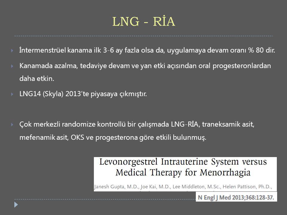 LNG - RİA İntermenstrüel kanama ilk 3-6 ay fazla olsa da, uygulamaya devam oranı % 80 dir.