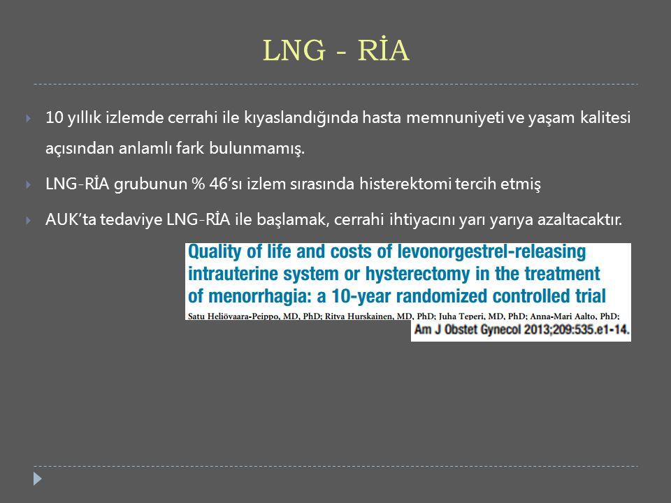 LNG - RİA 10 yıllık izlemde cerrahi ile kıyaslandığında hasta memnuniyeti ve yaşam kalitesi açısından anlamlı fark bulunmamış.