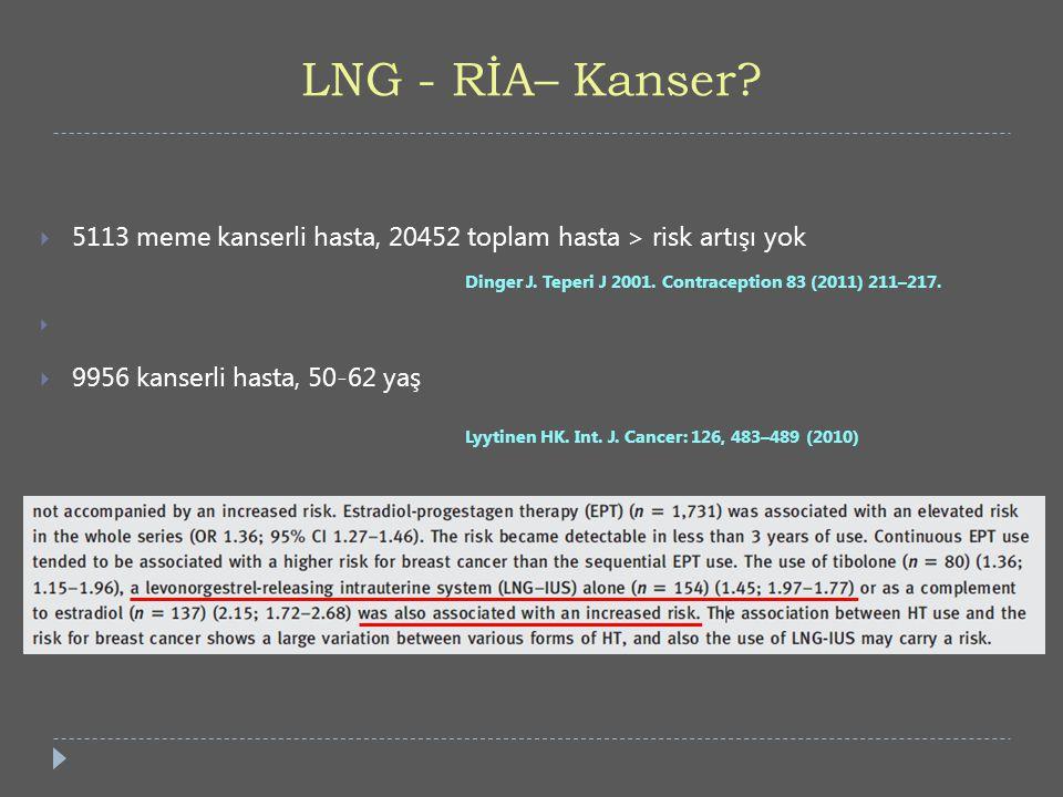 LNG - RİA– Kanser 5113 meme kanserli hasta, 20452 toplam hasta > risk artışı yok. Dinger J. Teperi J 2001. Contraception 83 (2011) 211–217.