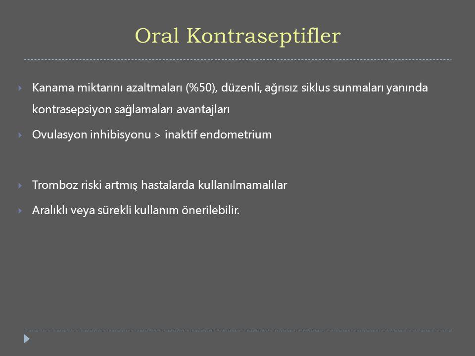 Oral Kontraseptifler Kanama miktarını azaltmaları (%50), düzenli, ağrısız siklus sunmaları yanında kontrasepsiyon sağlamaları avantajları.