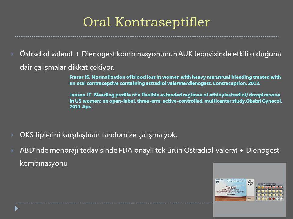 Oral Kontraseptifler Östradiol valerat + Dienogest kombinasyonunun AUK tedavisinde etkili olduğuna dair çalışmalar dikkat çekiyor.