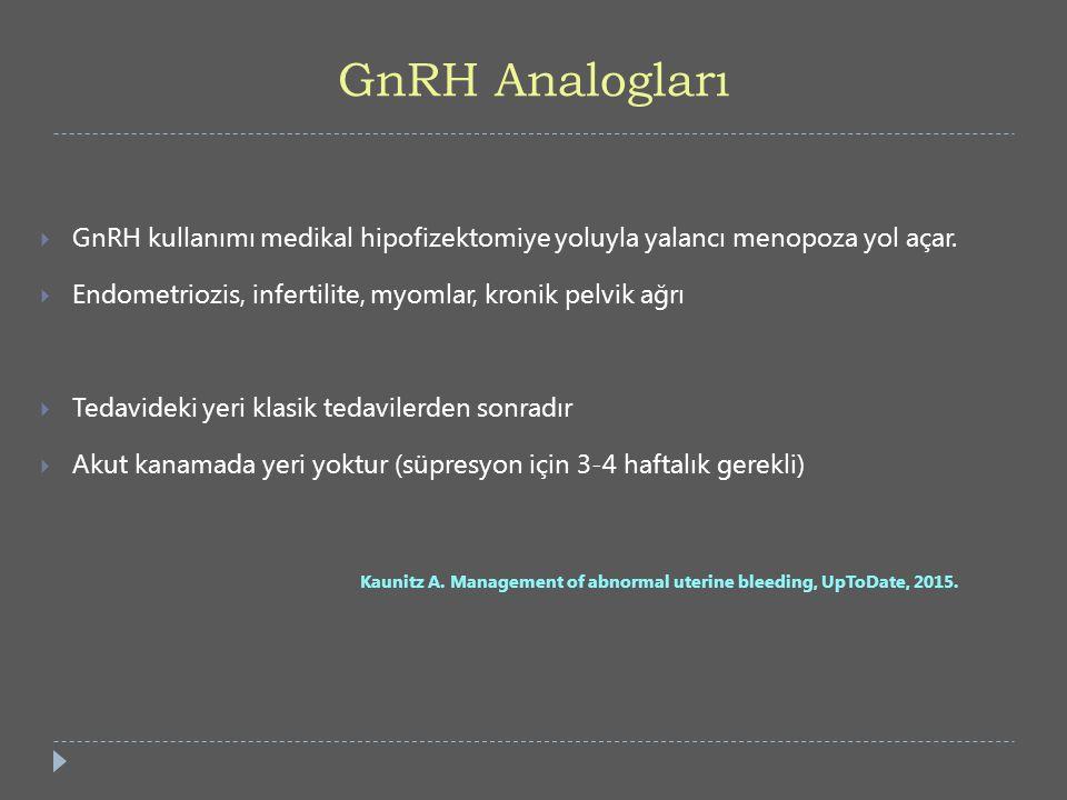 GnRH Analogları GnRH kullanımı medikal hipofizektomiye yoluyla yalancı menopoza yol açar. Endometriozis, infertilite, myomlar, kronik pelvik ağrı.