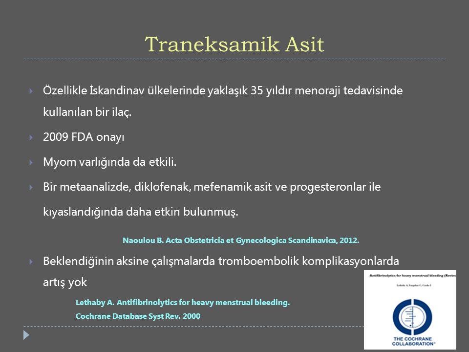 Traneksamik Asit Özellikle İskandinav ülkelerinde yaklaşık 35 yıldır menoraji tedavisinde kullanılan bir ilaç.