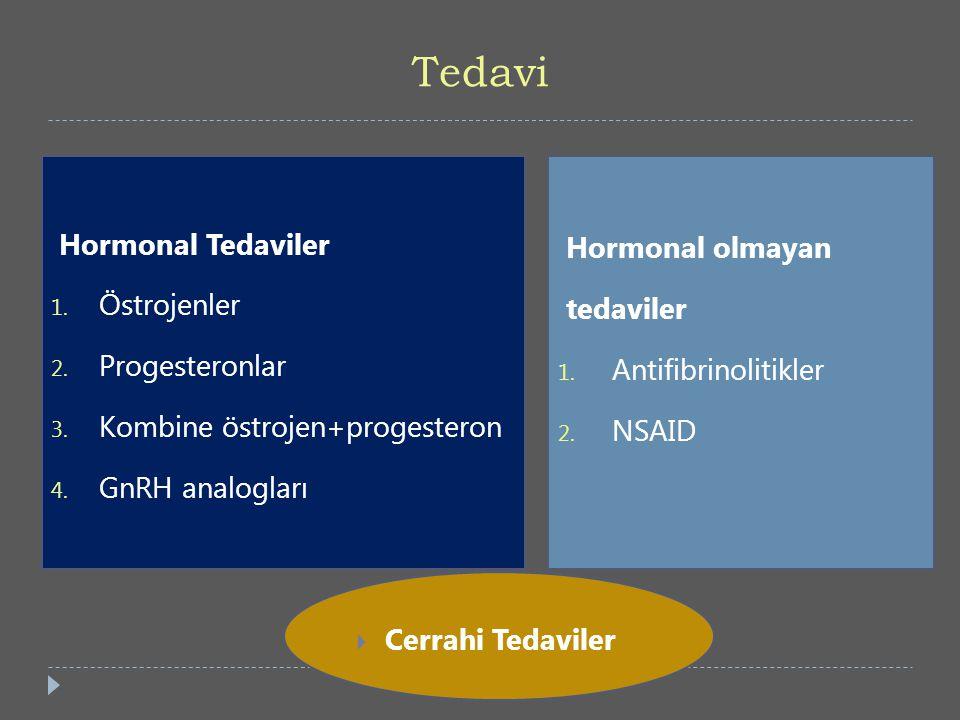 Tedavi Hormonal Tedaviler Hormonal olmayan Östrojenler tedaviler