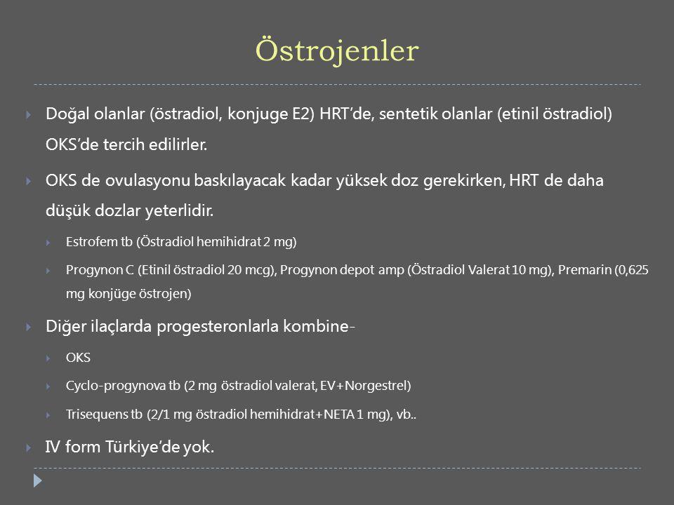 Östrojenler Doğal olanlar (östradiol, konjuge E2) HRT'de, sentetik olanlar (etinil östradiol) OKS'de tercih edilirler.