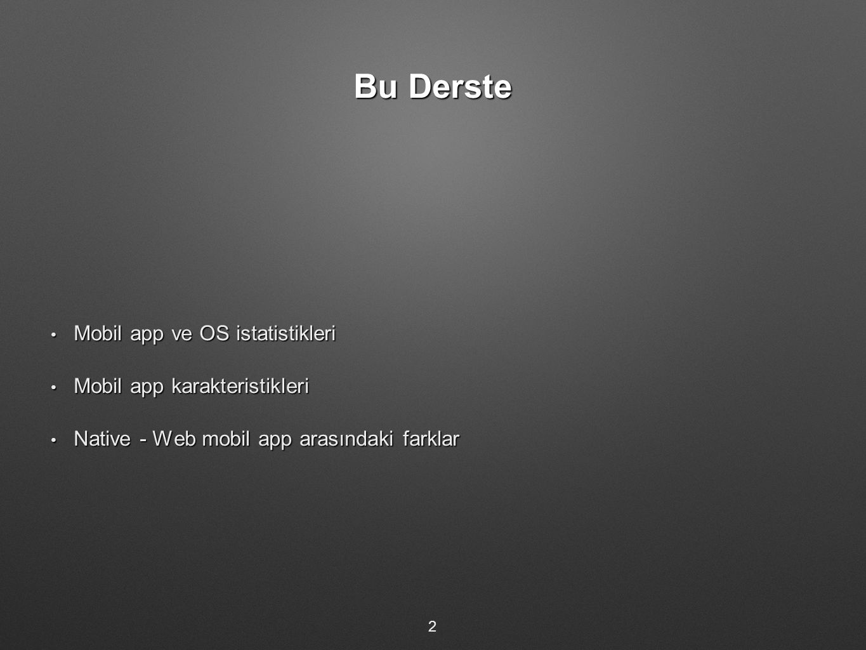 Bu Derste Mobil app ve OS istatistikleri Mobil app karakteristikleri