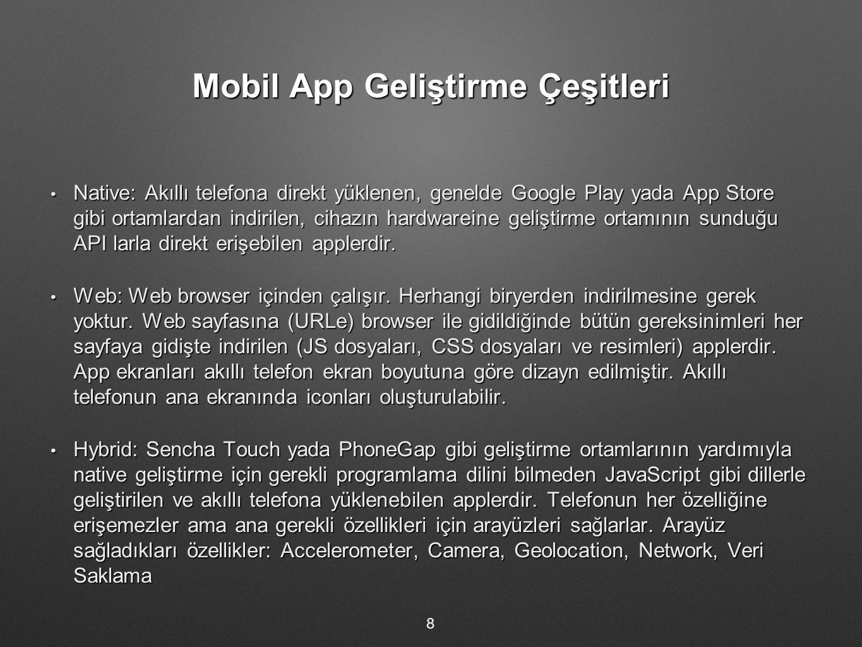 Mobil App Geliştirme Çeşitleri