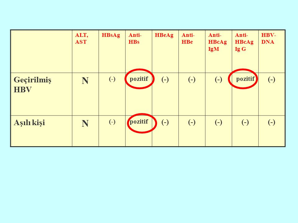 N Geçirilmiş HBV Aşılı kişi (-) pozitif ALT, AST HBsAg Anti-HBs HBeAg