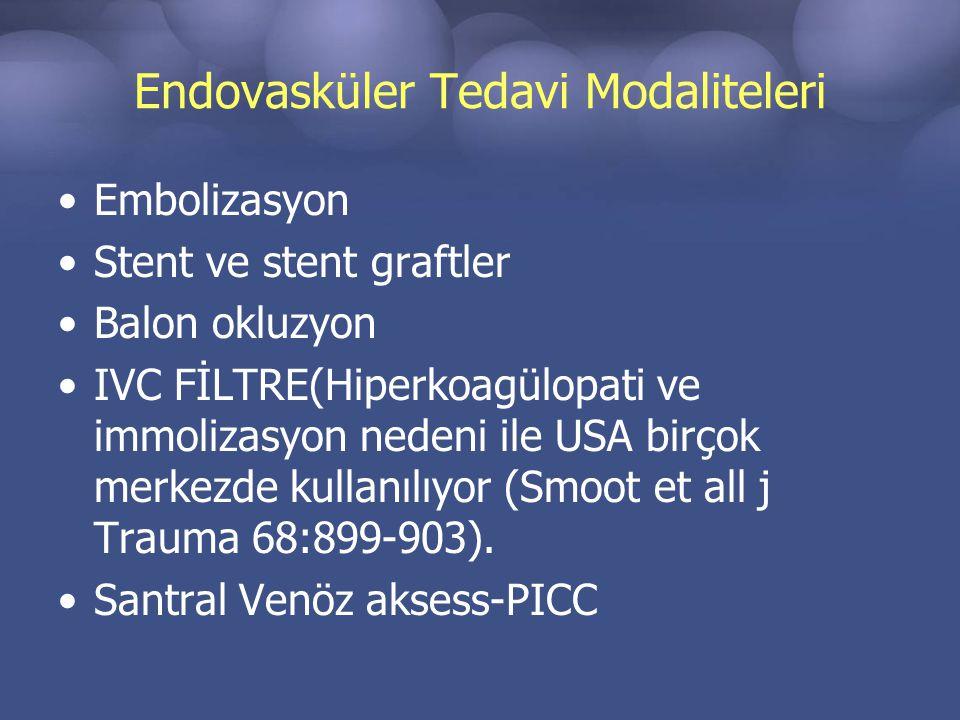 Endovasküler Tedavi Modaliteleri