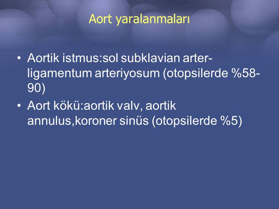 Aort yaralanmaları Aortik istmus:sol subklavian arter-ligamentum arteriyosum (otopsilerde %58-90)
