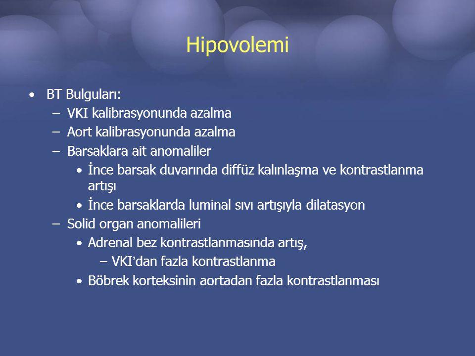 Hipovolemi BT Bulguları: VKI kalibrasyonunda azalma