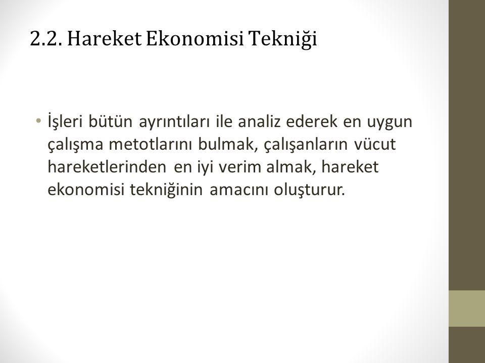 2.2. Hareket Ekonomisi Tekniği