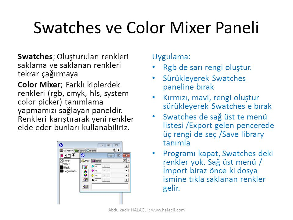 Swatches ve Color Mixer Paneli
