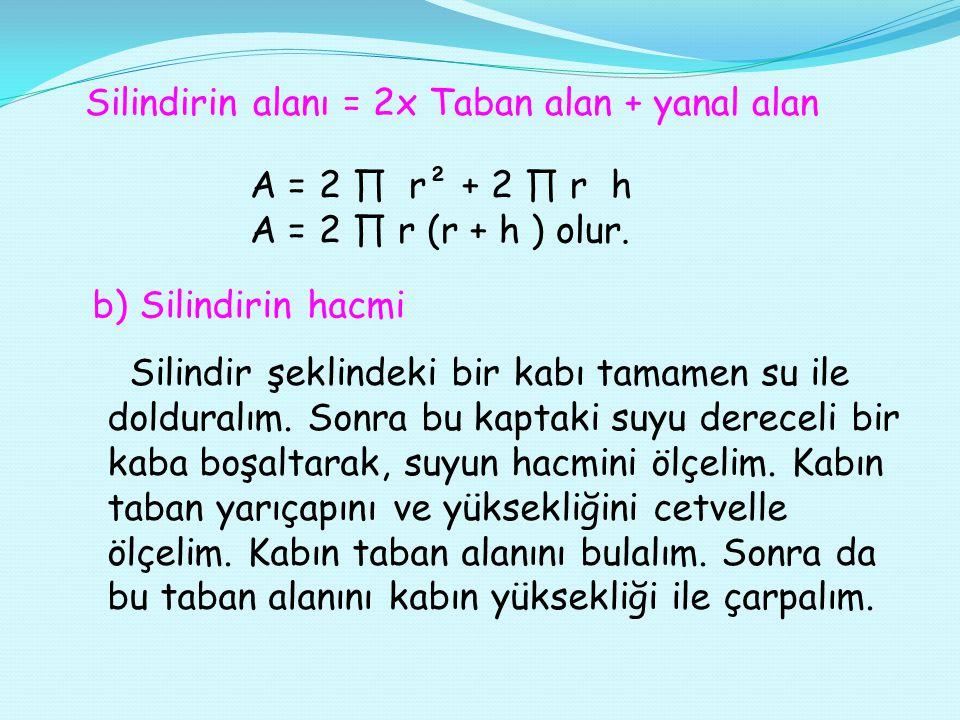 Silindirin alanı = 2x Taban alan + yanal alan