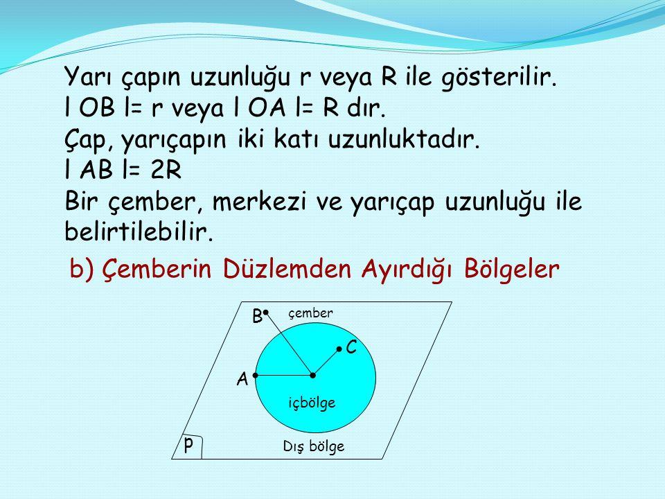 Bir çember, merkezi ve yarıçap uzunluğu ile belirtilebilir.