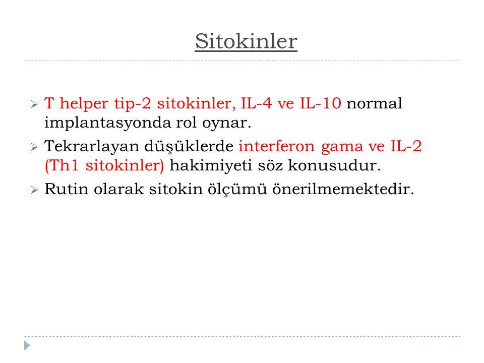 Sitokinler T helper tip-2 sitokinler, IL-4 ve IL-10 normal implantasyonda rol oynar.
