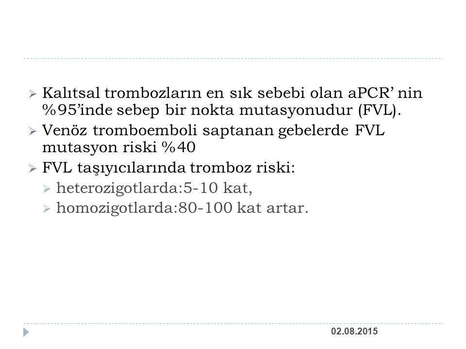 Venöz tromboemboli saptanan gebelerde FVL mutasyon riski %40