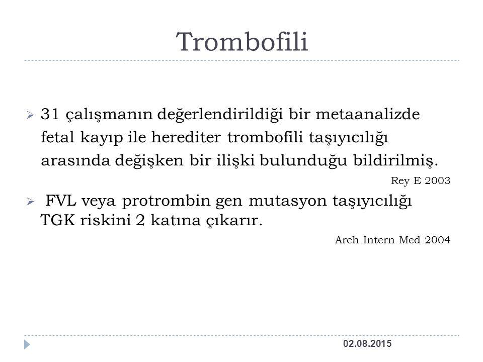 Trombofili 31 çalışmanın değerlendirildiği bir metaanalizde