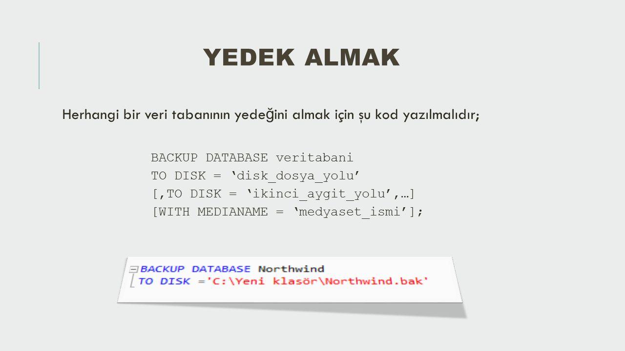 Yedek Almak Herhangi bir veri tabanının yedeğini almak için şu kod yazılmalıdır; BACKUP DATABASE veritabani.