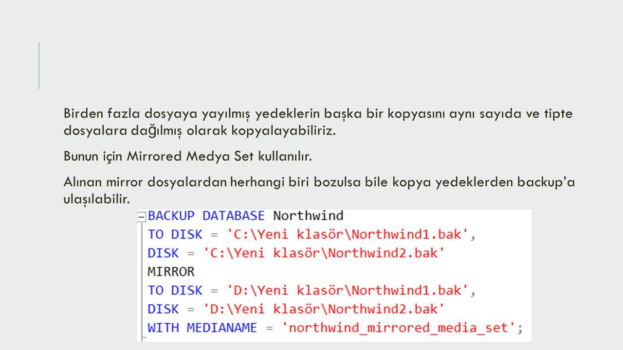 Birden fazla dosyaya yayılmış yedeklerin başka bir kopyasını aynı sayıda ve tipte dosyalara dağılmış olarak kopyalayabiliriz.