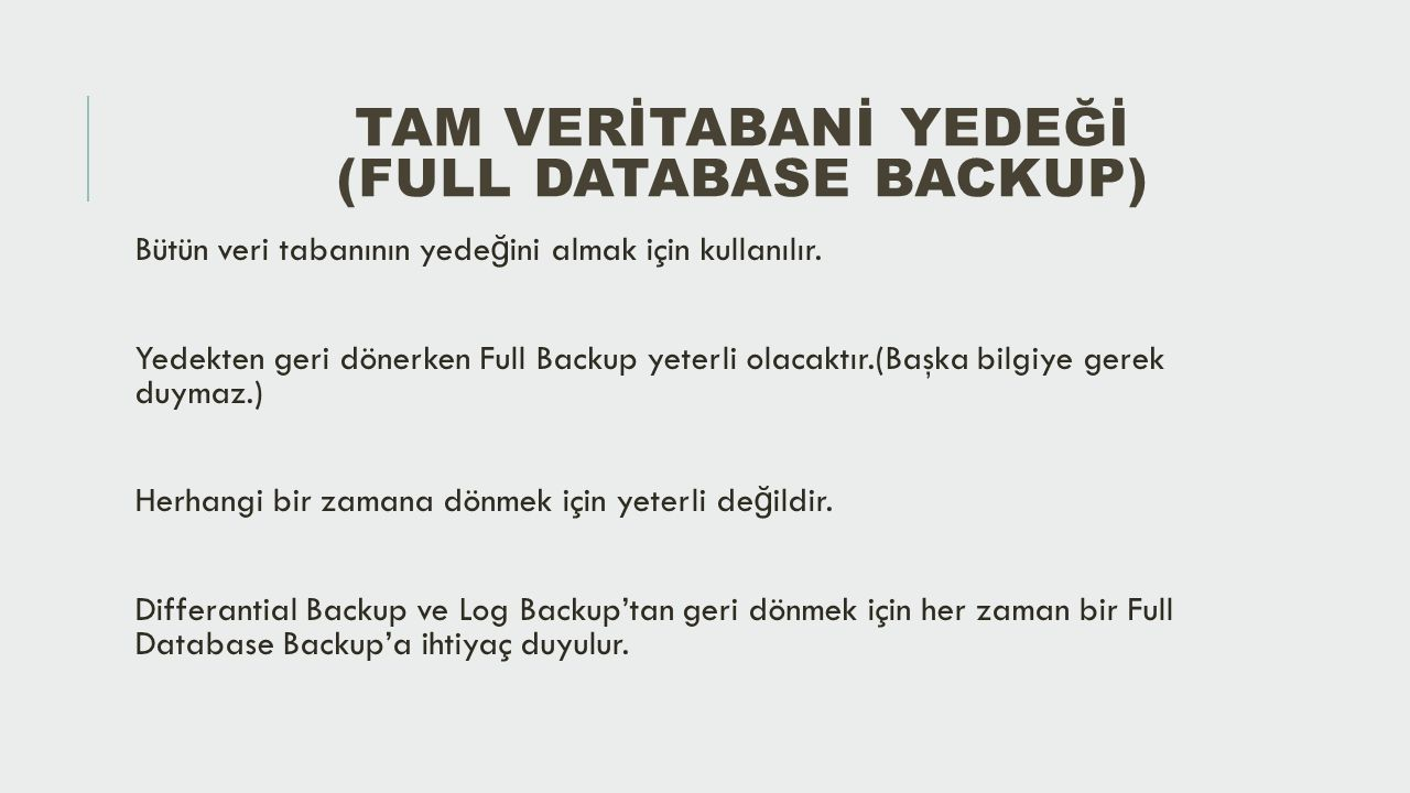 Tam Verİtabanİ Yedeğİ (Full Database Backup)