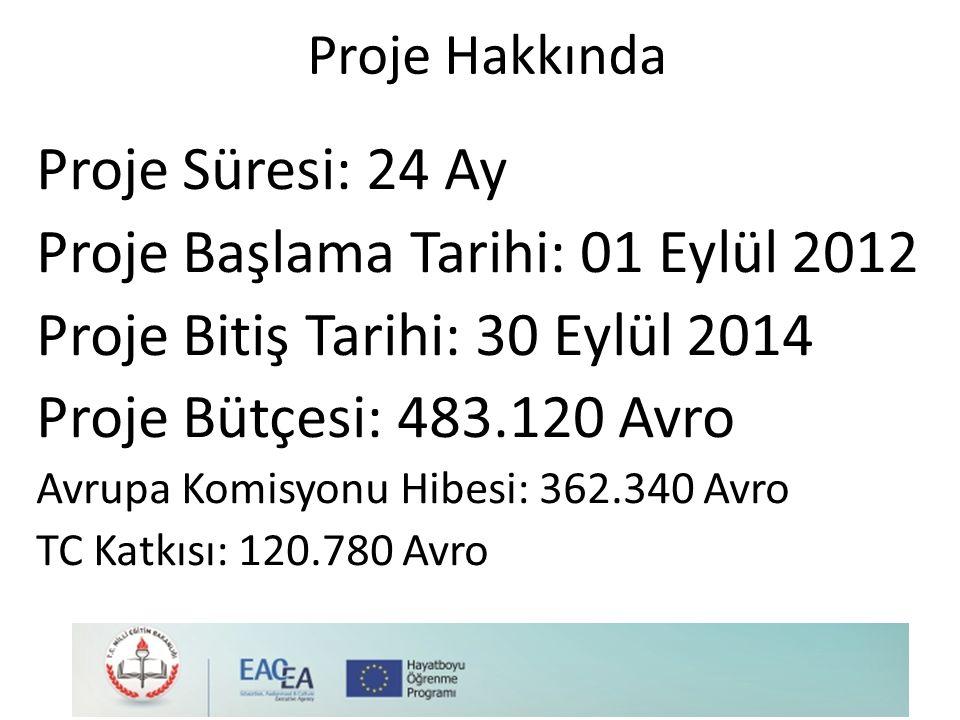 Proje Başlama Tarihi: 01 Eylül 2012 Proje Bitiş Tarihi: 30 Eylül 2014