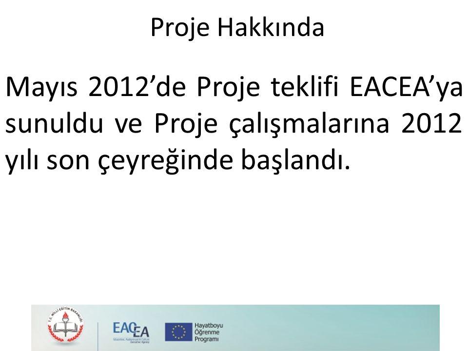 Proje Hakkında Mayıs 2012'de Proje teklifi EACEA'ya sunuldu ve Proje çalışmalarına 2012 yılı son çeyreğinde başlandı.