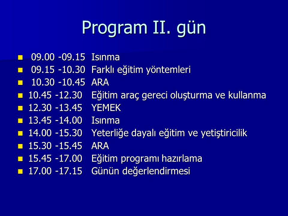 Program II. gün 09.00 -09.15 Isınma. 09.15 -10.30 Farklı eğitim yöntemleri. 10.30 -10.45 ARA.