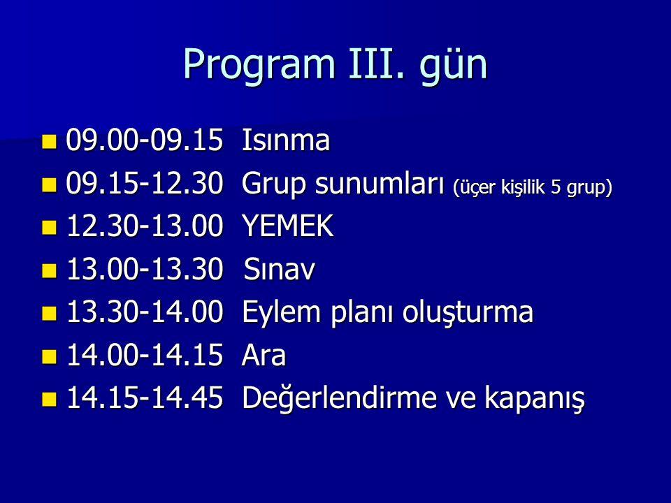 Program III. gün 09.00-09.15 Isınma